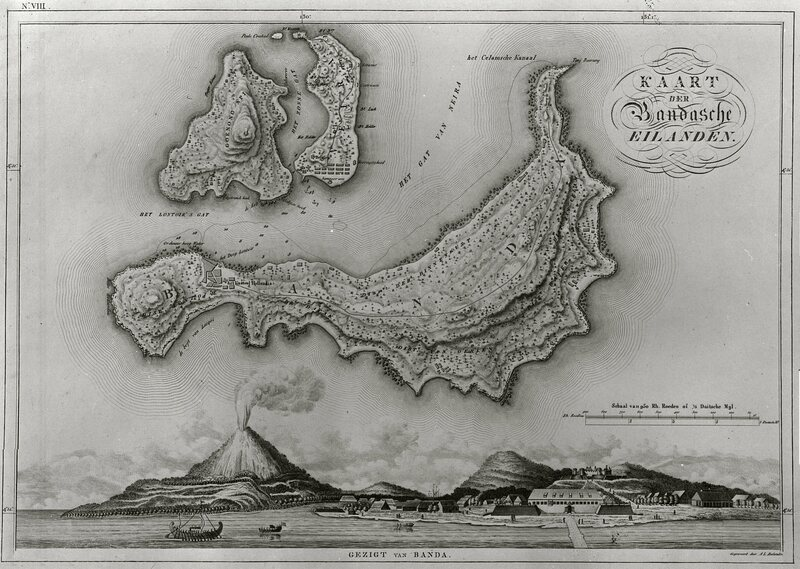 Several Banda islands depicted above a port. The islands were trading centers that depended on imports for food.