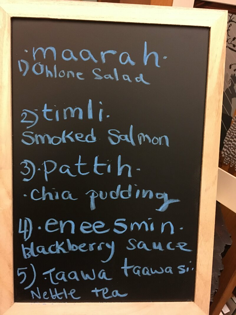 Menus at Café Ohlone are written in both English and the Ohlone language.