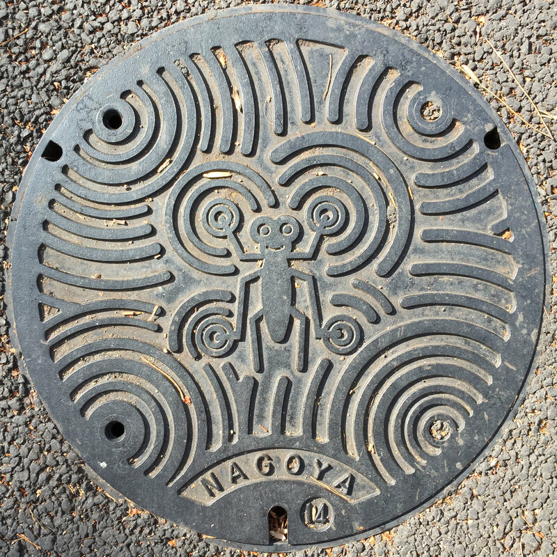 A manhole cover in Nagoya depicts a water strider.