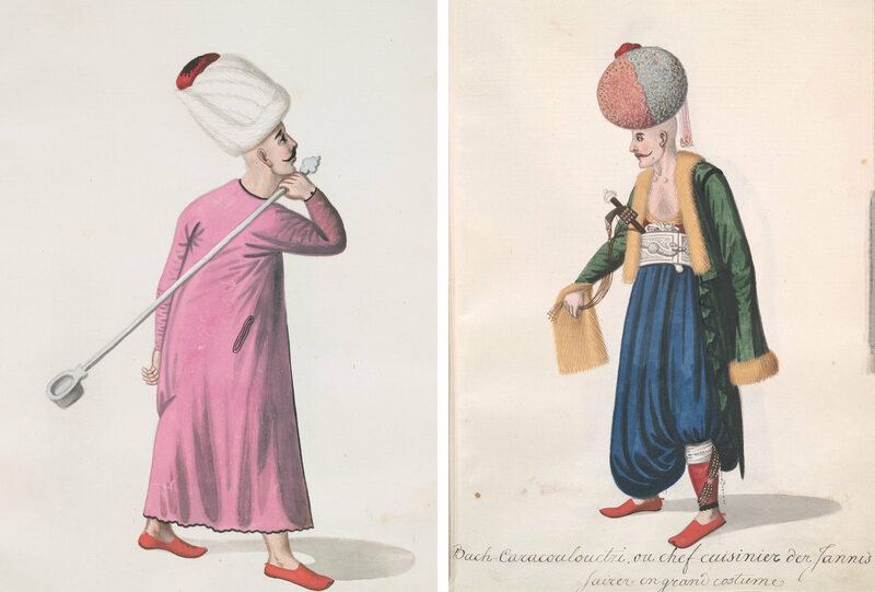 A lowly janissary cook holding a big ladle, and a head cook wearing an elaborate turban evoking 16th-century styles.
