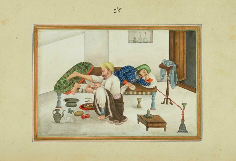 In an image from James Skinner's book on life in India, a surgeon works on the leg of a patient as he takes opium.
