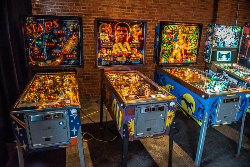 Vintage pinball machines at Chicago's Bottom Lounge.