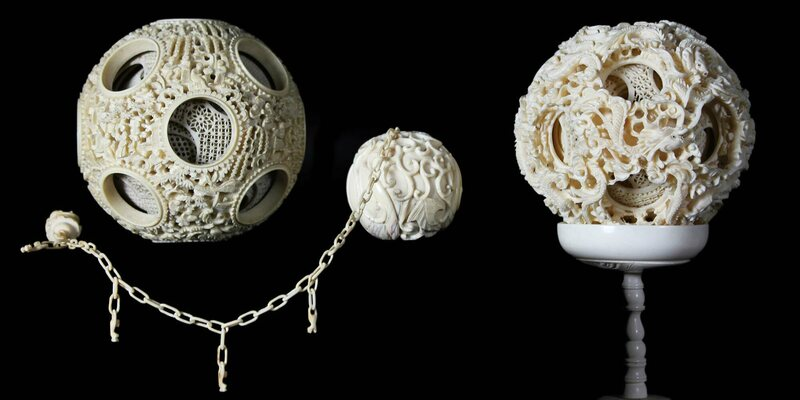 Puzzle Balls, ivory, 1.75 to 4 inches diameter, late 19th century,  China.