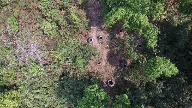 An aerial view of the newly discovered stone jars tucked away in the Lao forest.