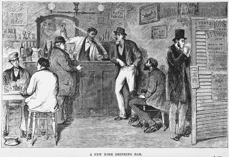 An idyllic scene of a New York bar, pre-Raines law.