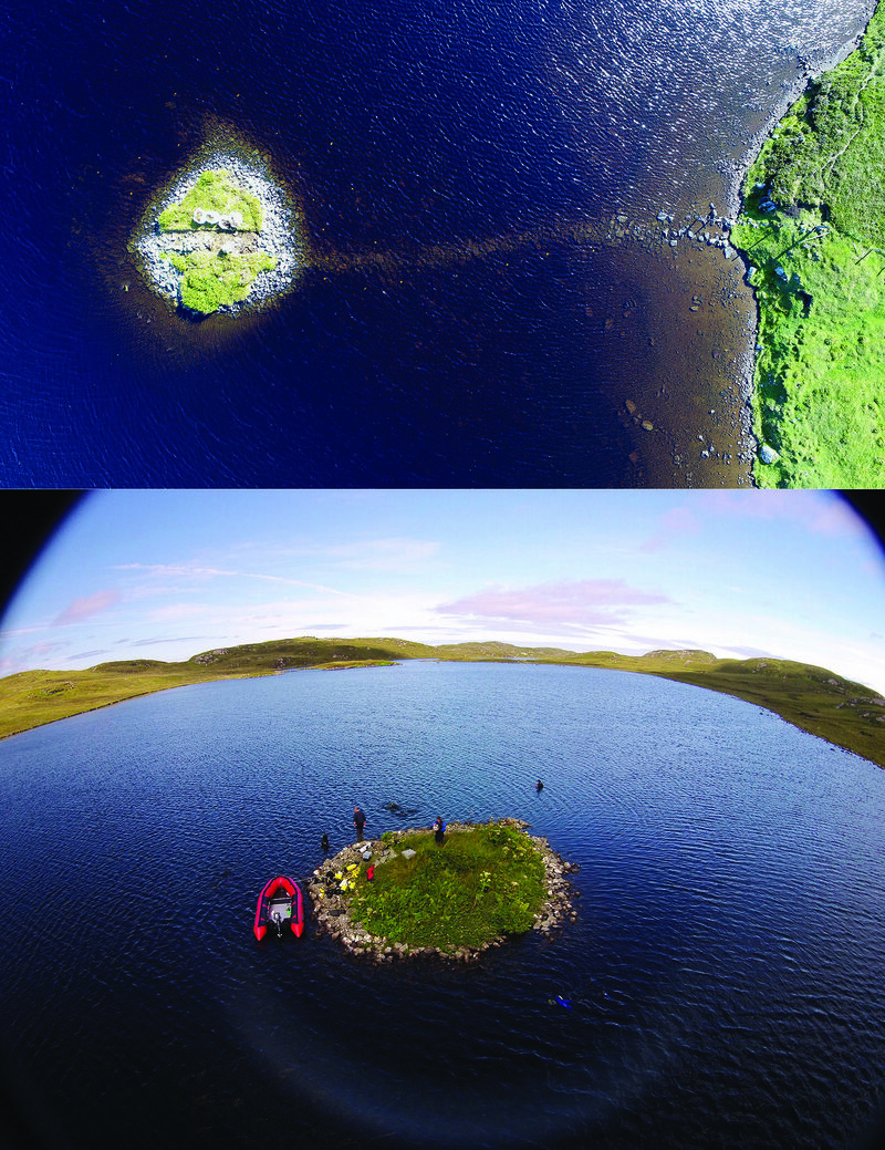 Aerial views of the islets in Loch Bhorgastail (top) and Loch Langabhat (bottom).