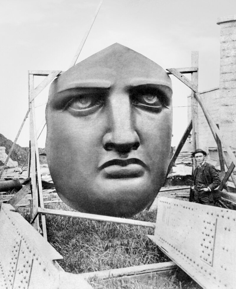 The face of the Statue of Liberty awaiting installation in New York in 1885.