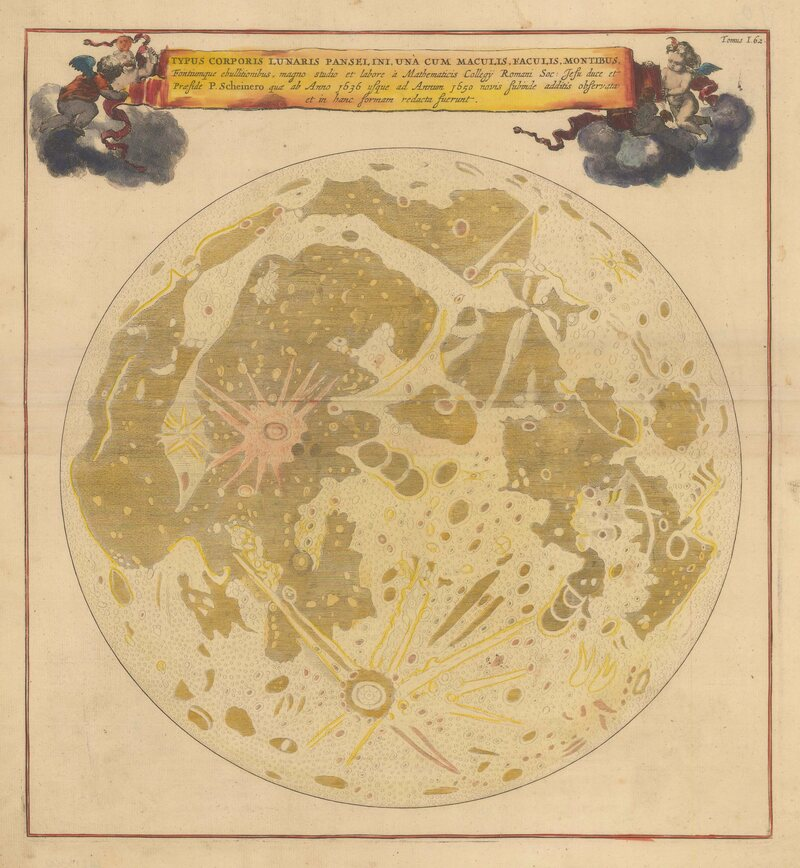 A pivotal 1669 map of the moon's surface, drawn by Athanasius Kircher.