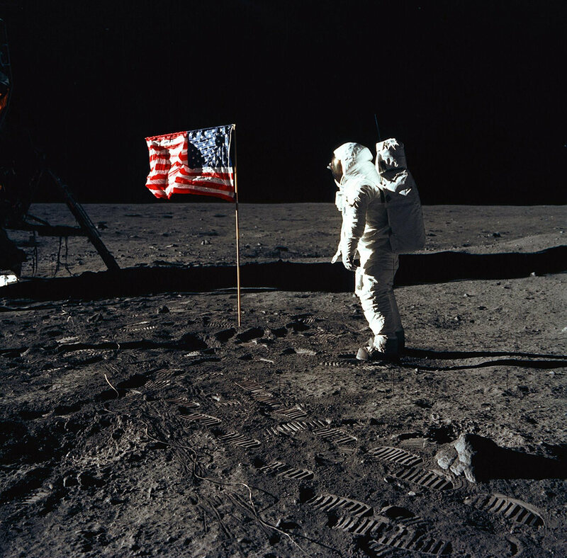 Buzz Aldrin on the surface of the Moon on July 20, 1969.