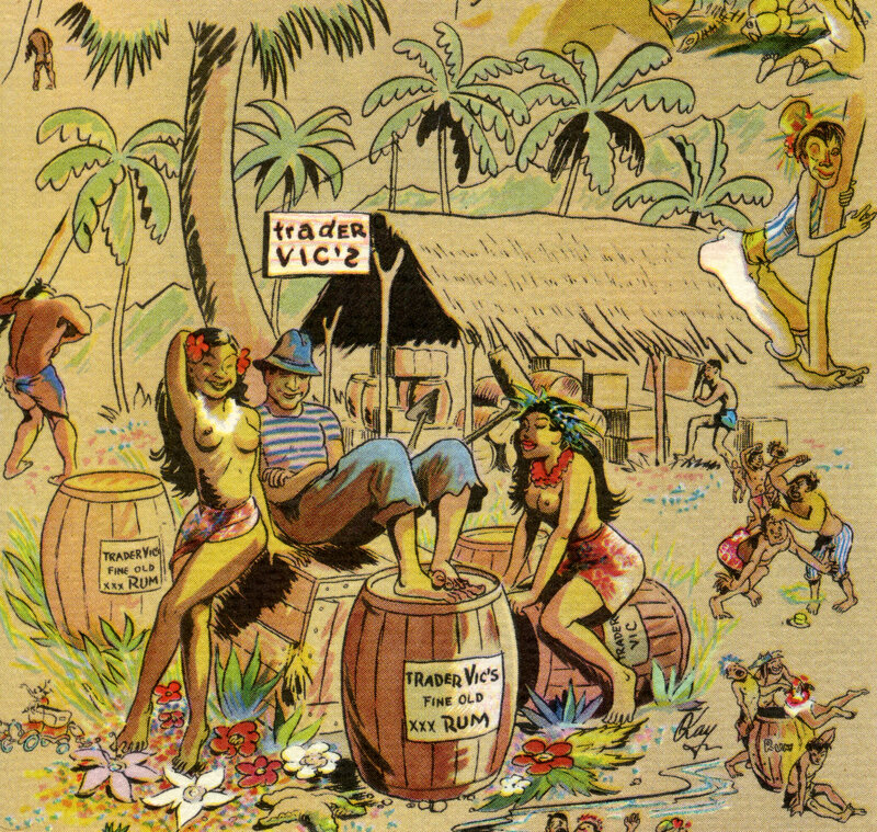 This image from a 1956 Trader Vic's menu sells the sensual appeal and cultural insensitivity of tiki culture.