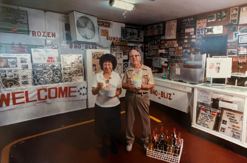 Ernest and Mary pose in the stand in 1989.