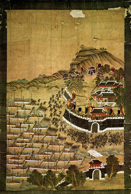 Japanese ships lay siege to Busanjin Fortress in 1592.