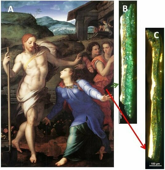 Microsamples taken from Bronzino's painting,<em>Noli me tangere</em> show vastly different levels of deterioration.