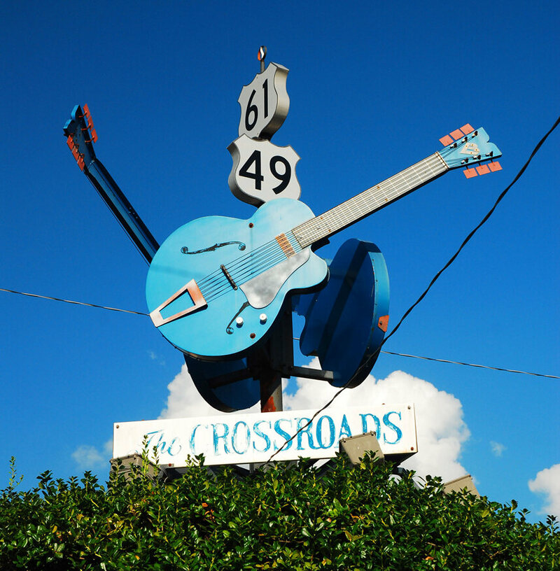 The sign marking the crossroads in Clarksdale, Mississippi, where legend has it that Johnson sold his soul.