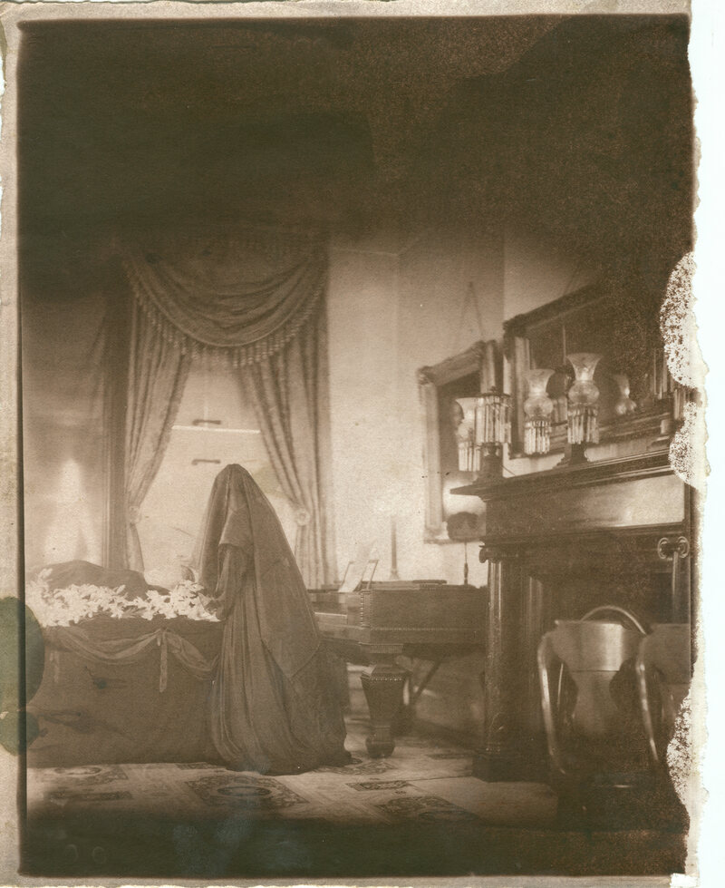 Each fall, the parlor in the Merchant's House Museum is outfitted for a Victorian funeral. Contemporary photographer Hal Hirshorn captured the festivities using a technique designed to emulate old pictures.