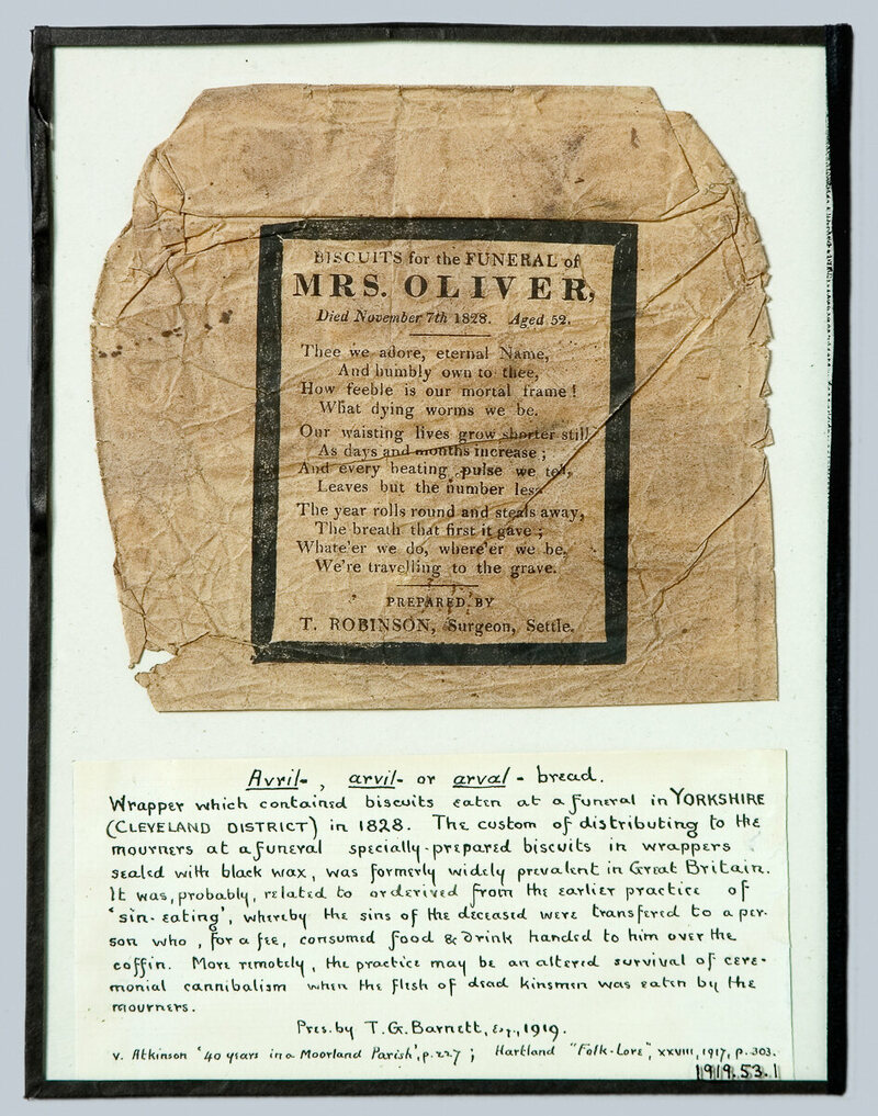 Many funeral biscuit wrappers—like this one, from a funeral in Yorkshire in 1828—held verse that reminded readers of their own mortality.