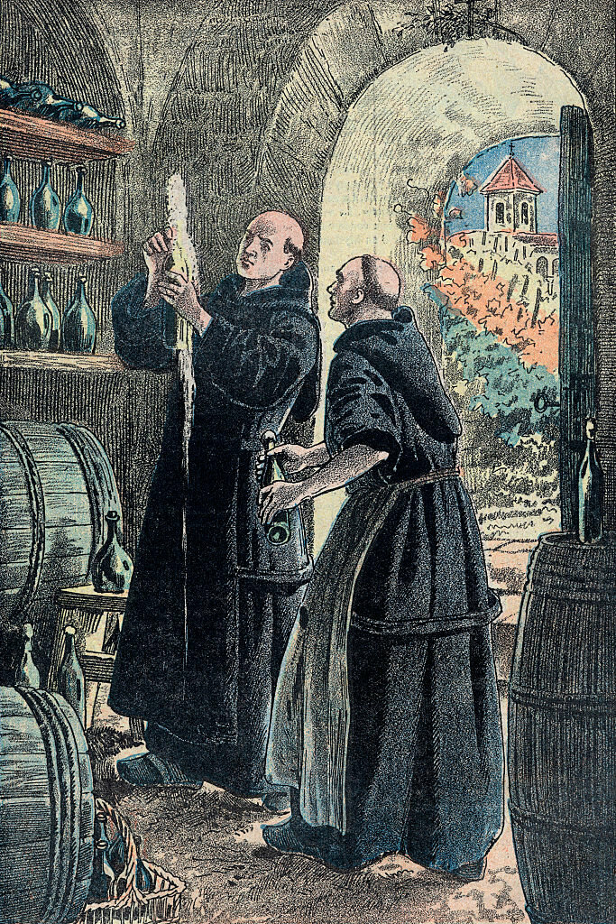Often, the discovery of Champagne is attributed to the monk Dom Pérignon, depicted here with a bubbling bottle.
