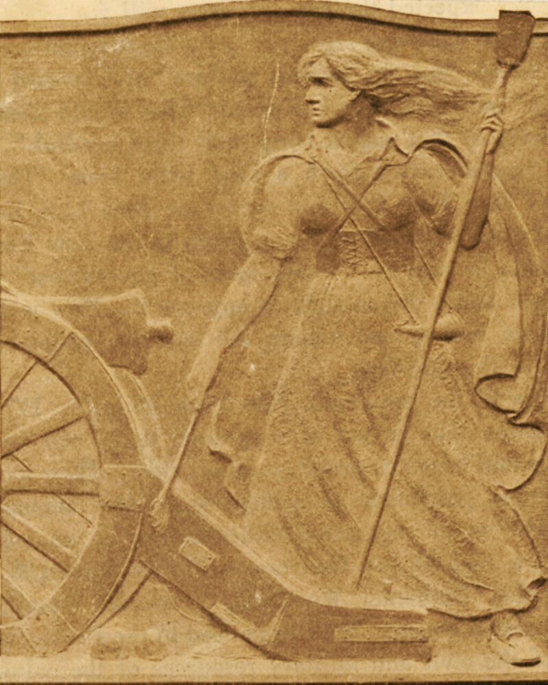 On the West Point monument, Corbin wears a long dress and a powder horn, and she operates a cannon while her long hair flies in the wind.