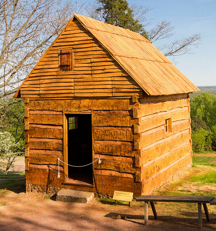The Hemmings Cabin that Jobie Hill reconstructed at Monticello.