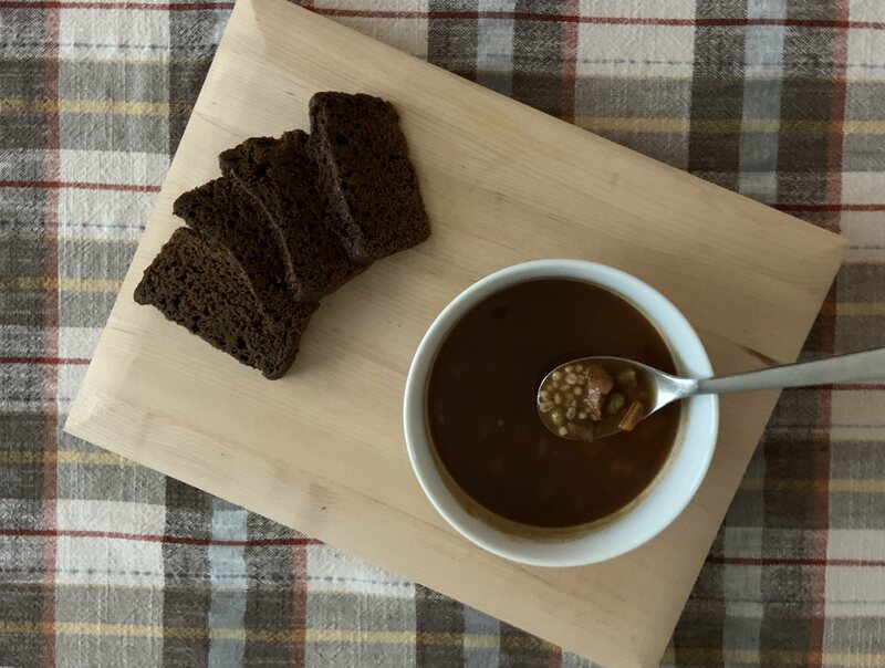 Icelandic rye (alas, made in an oven) with beef barley soup.