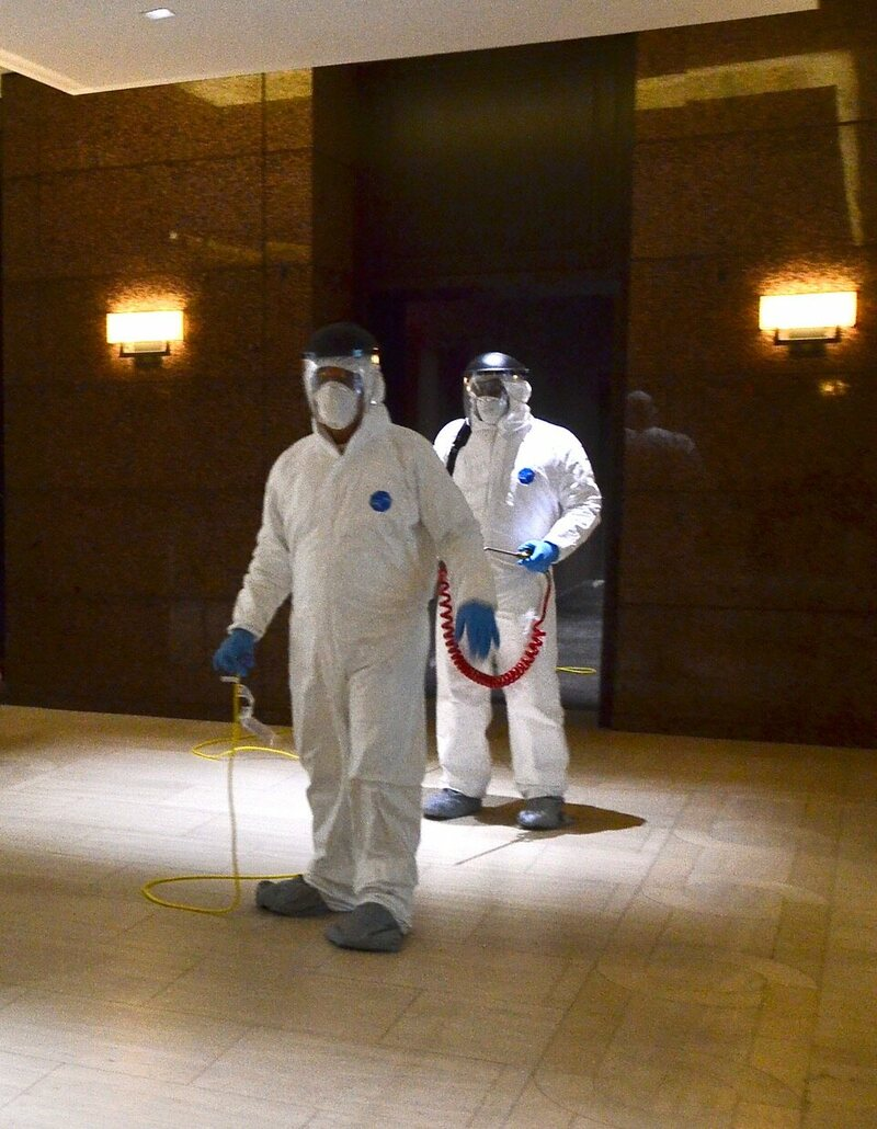 The National Museum of American History may add PPE to its collection in the future. Meanwhile, the New-York Historical Society is acquiring this image of a cleaning crew.