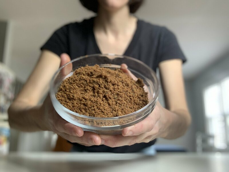 The ground-up meat-and-berry powder.