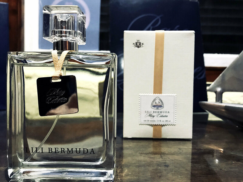 A bottle and the packaging for the new perfume in the Lili Bermuda boutique.
