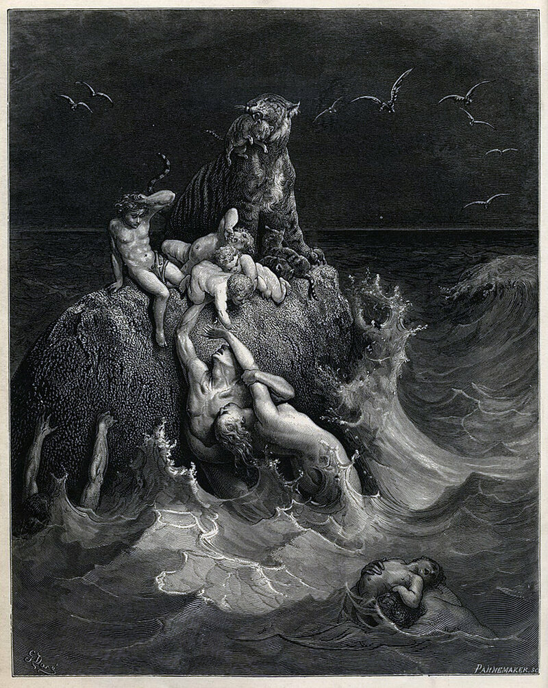<em>The Deluge</em>, the frontispiece to Gustave Doré's illustrated edition of the Bible, depicting the Great Flood.
