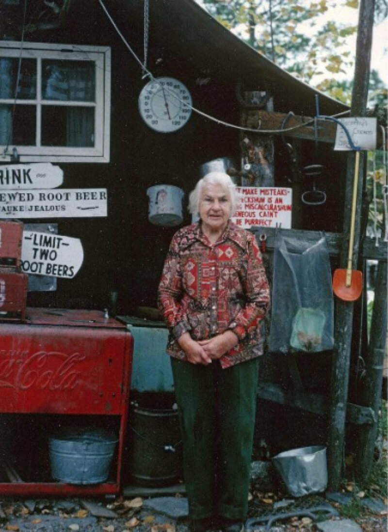 Molter's hand-painted signs advertised her root beer (and a hard limit of two per person.)