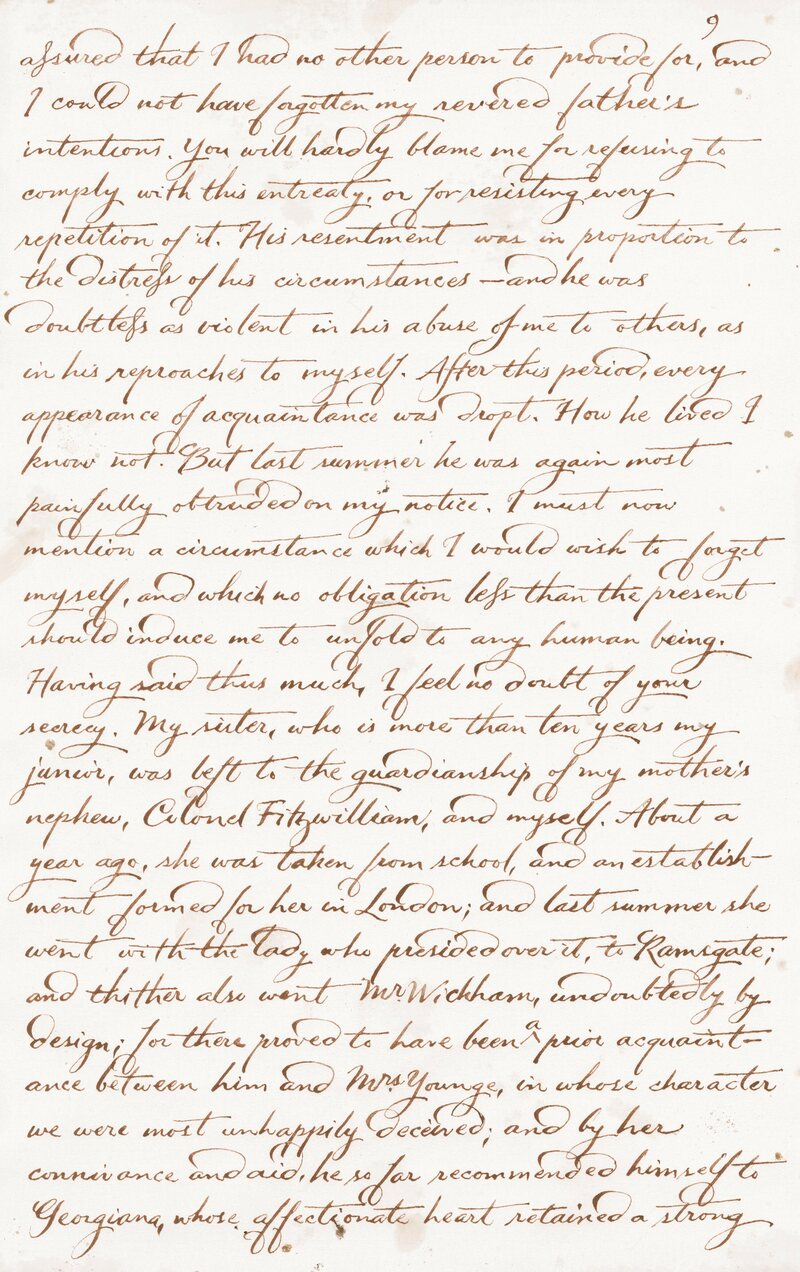 Darcy's handwriting is based on that of Prince Edward Augustus, Duke of Kent and Strathearn.