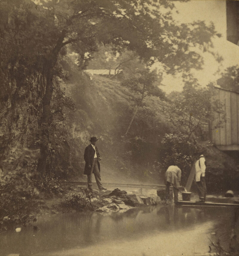 Hot Springs Valley, in what is now Hot Springs National Park in Arkansas, T.W. Banks, 1867.