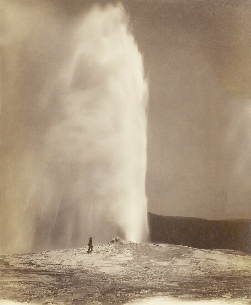 Old Faithful, in what is now Yellowstone National Park in Wyoming, William Henry Jackson, 1870.