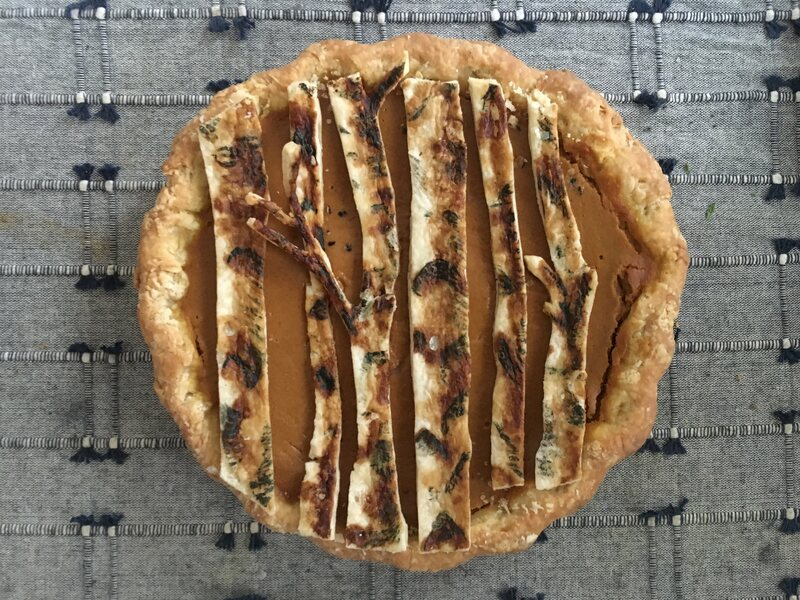 Fong gave her maple-pumpkin New Hampshire pie a crust that resembles white birch, the state tree.