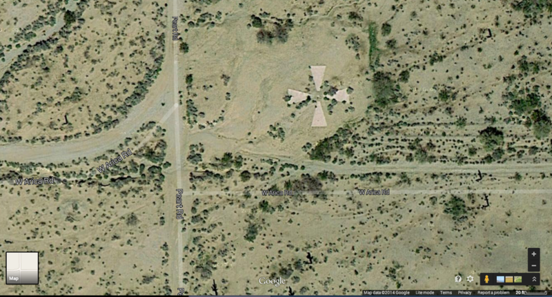 One of the crosses viewed from a Google satellite.