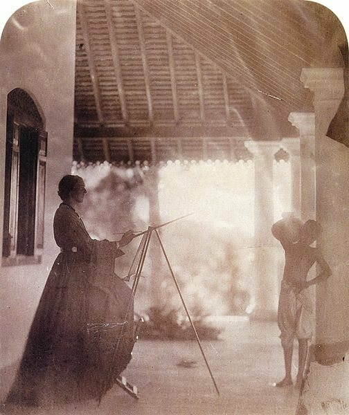 Marianne North in Mrs Cameron's house in Ceylon, c. 1877