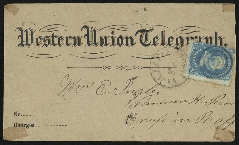 Technology you didnt know still existed the telegram atlas obscura the envelope for a western union telegraph c 1861 photo library of congress publicscrutiny Images