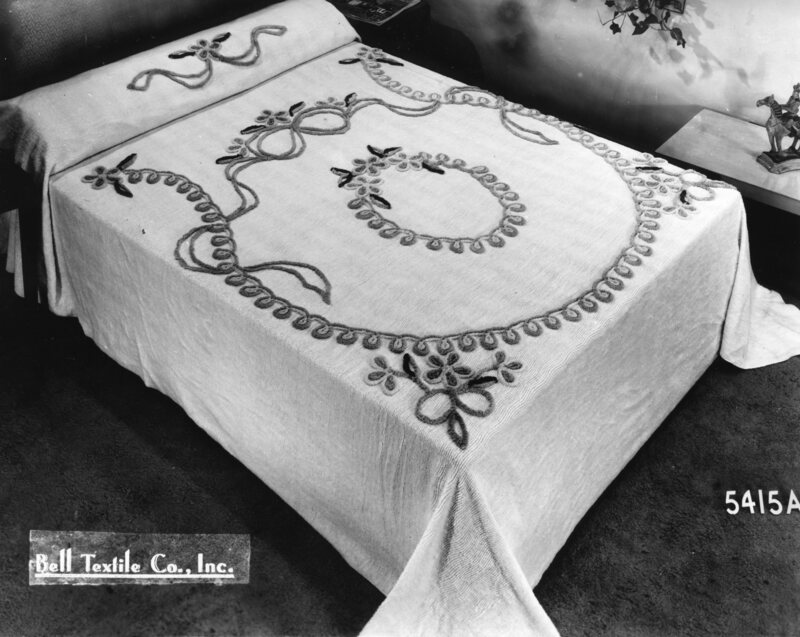 """""""Chenille"""", the French word for """"caterpillar"""", described the appearance of the rows of tufts that made the bedspread's pattern, c. 1960s."""