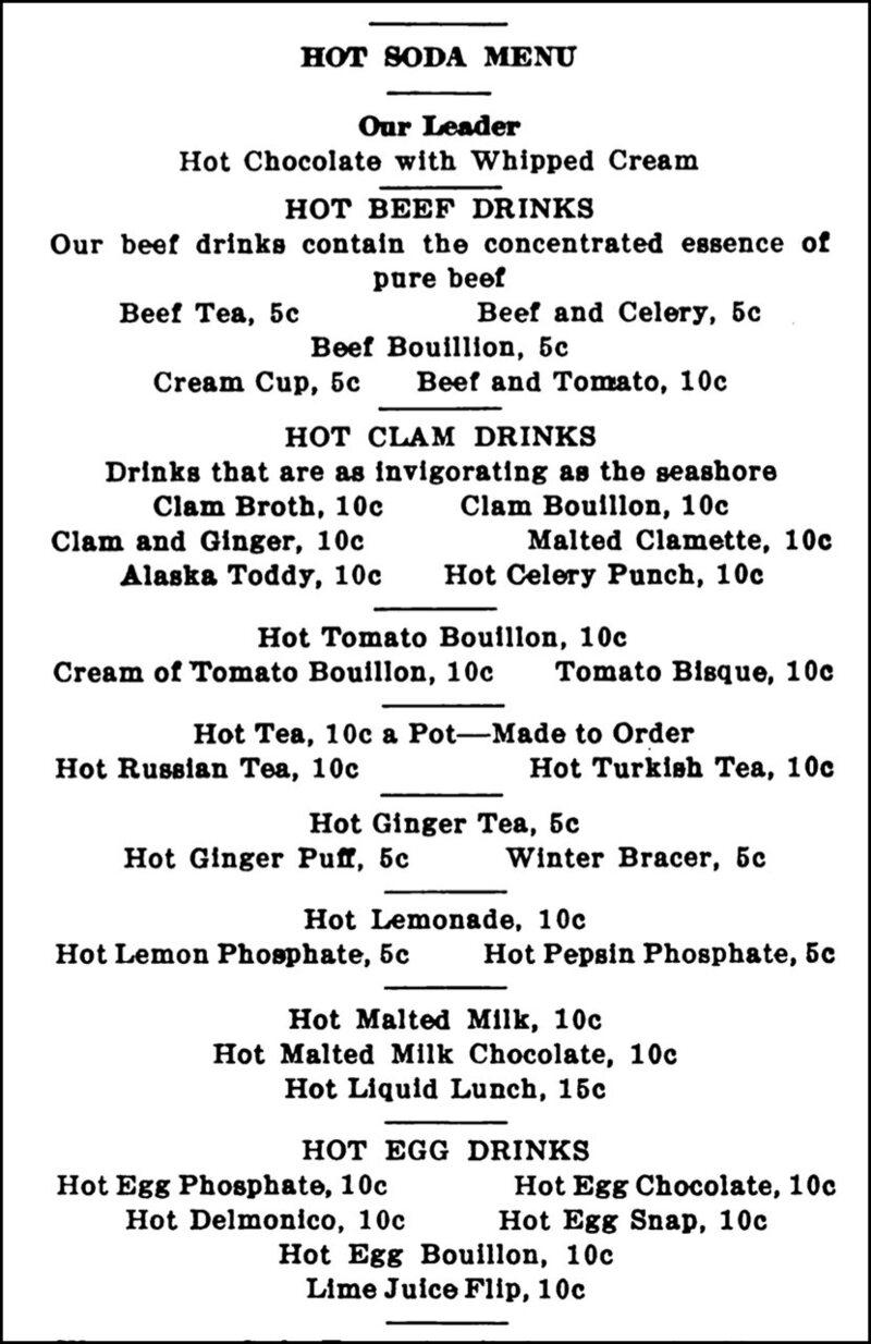 A hot soda menu from