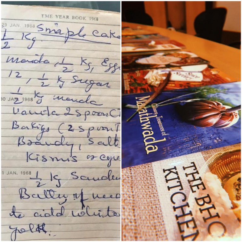A handwritten recipe sourced by the students (left) and cookbooks consulted (right).