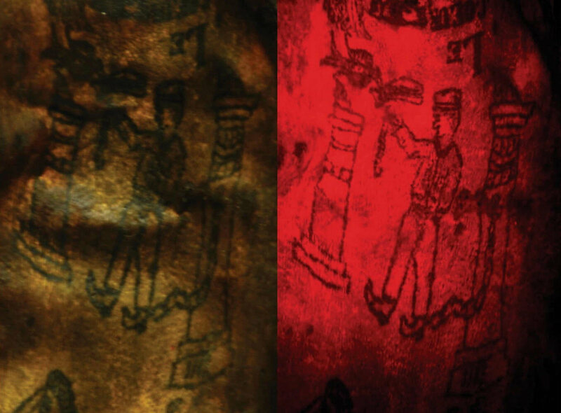 Using multispectral lights and filters (right), researchers were able to see additional details of some of the tattoos, including a uniformed figure chained to a pillar.