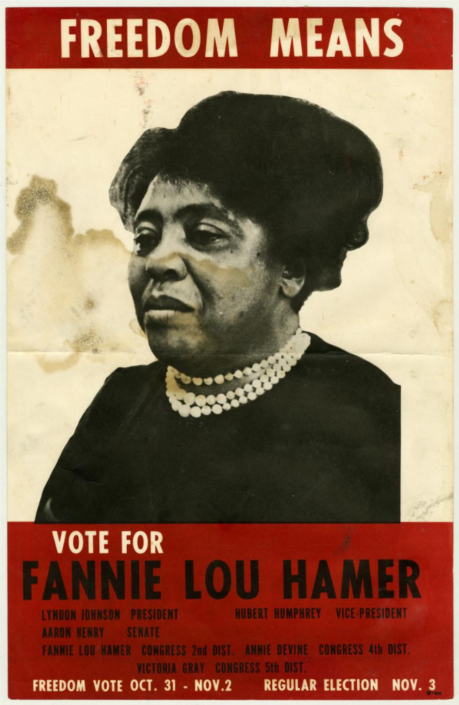 In 1964, Hamer unsuccessfully challenged the white establishment in the Democratic primary for a seat in Congress.