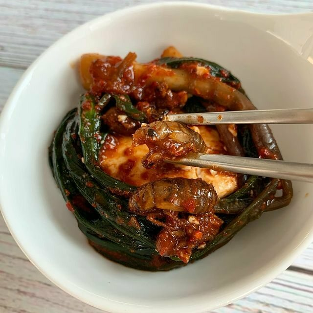 Nymph kimchi, made with fermented ramps.