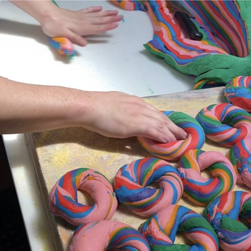 Rolling rainbow bagels at Baz Bagels in Manhattan.
