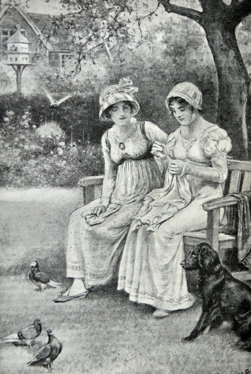 Engraving of Jane Austen and her sister Cassandra doing needlework in the rectory garden.