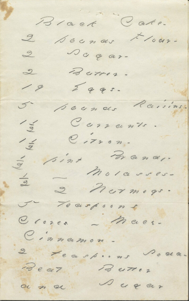 Emily sent her black cake recipe, now held at Houghton Library, to her friend Nelly Sweetser.