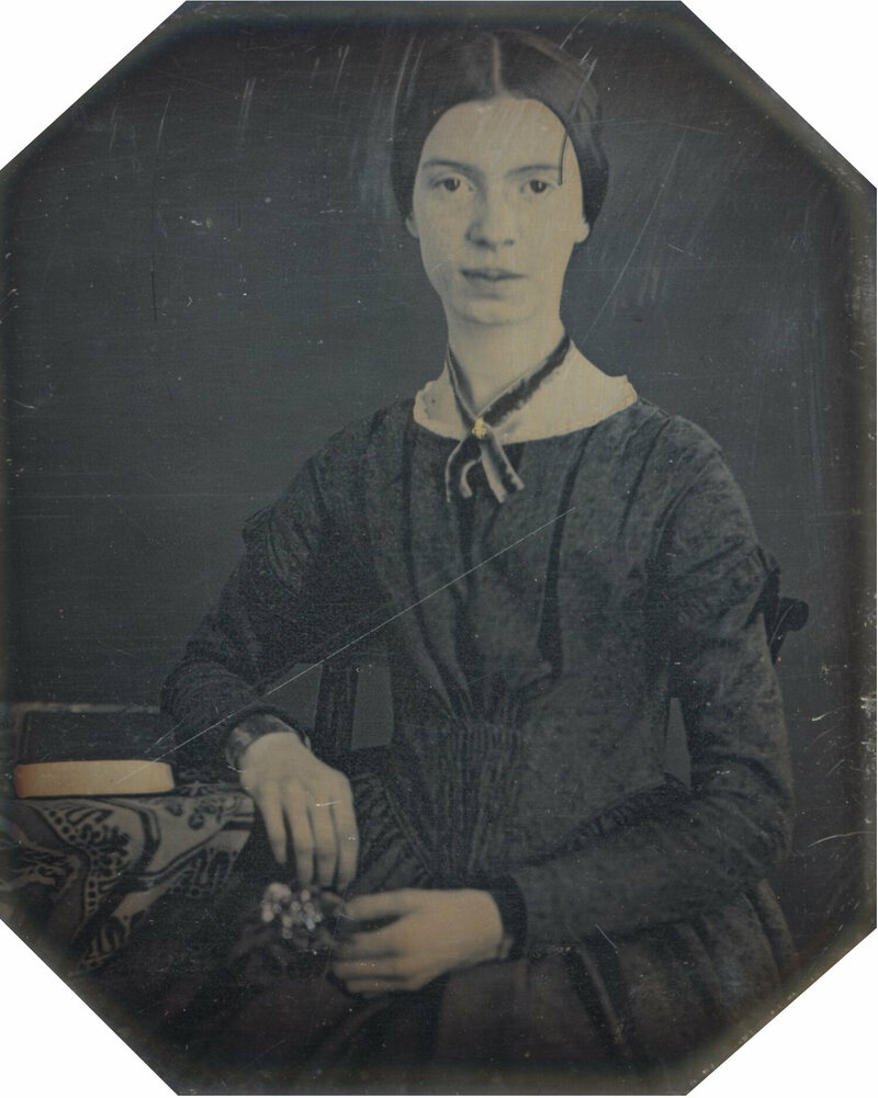 This daguerrotype, of a teenage Dickinson at Mount Holyoke Female Seminary, is the only verified portrait of the poet.
