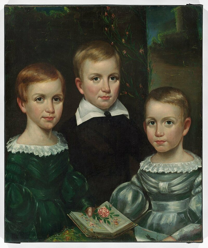 A portrait of the Dickinson children from around 1840. Emily is pictured at left.