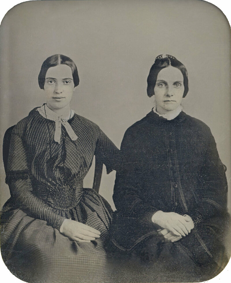 Amherst College Archives and Special Collections, which has a substantial Dickinson collection, unveiled this daguerrotype in 2012, arguing that it pictures Dickinson with her friend Kate Scott Turner. It has not been verified as a genuine image of Emily.