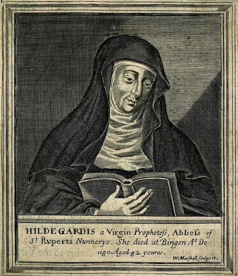 A 17th-century line engraving of Hildegard.