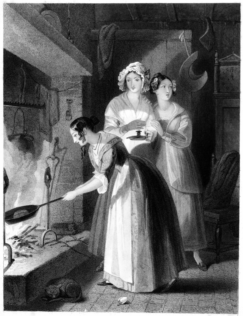 A dumb cake ritual engraving from the 1840s. Tag yourself, I'm the one cowering in fear on the right.
